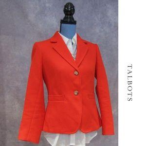 NWOT Talbots Petites Orange 2 Button Blazer 6P